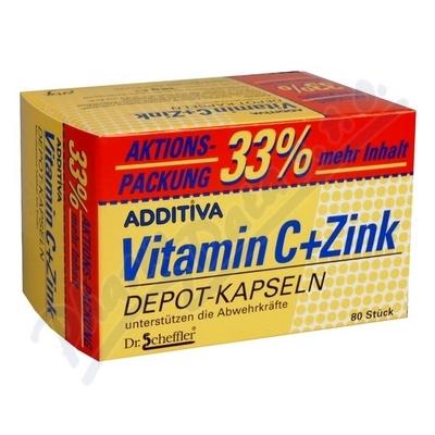 Additiva vitamin C + zinek 33% gratis cps.80
