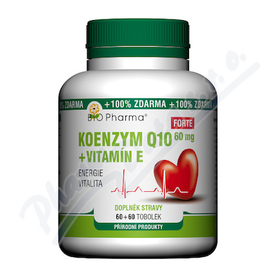 Koenzym Q10 Forte 60mg +Vitamín E tob.60+60 Bio-Ph